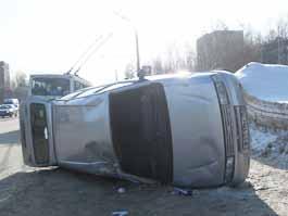 В Ижевске на центральной улице перевернулась машина