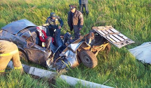 На трассе Ижевск-Можга автомобиль вылетел с дороги и врезался в столб