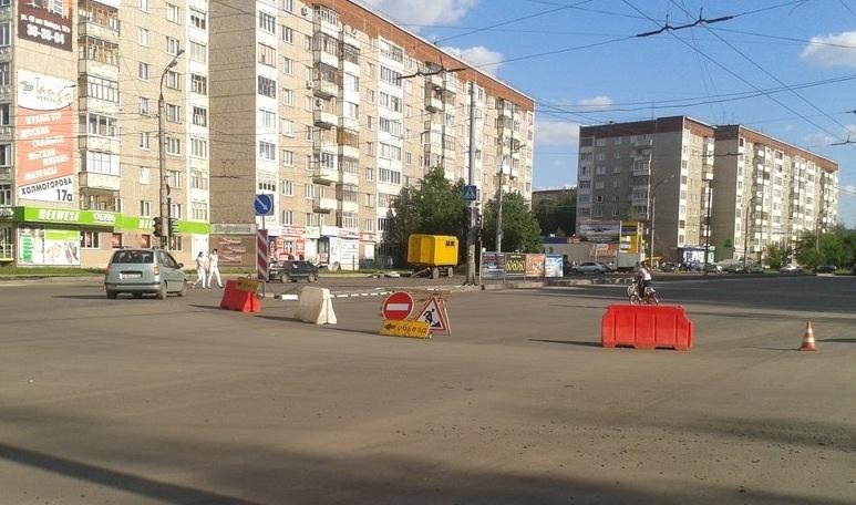Фотофакт: улицу Молодежную в Ижевске перекрыли для ремонта