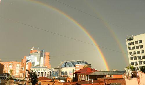Фотофакт: в небе над Ижевском раздвоилась радуга