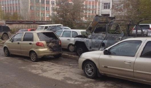 В Ижевске сгорел УАЗ