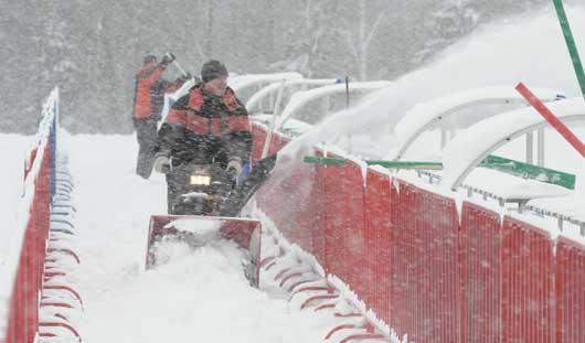 Лыжню для «Ижевской винтовки» спасают искусственным снегом