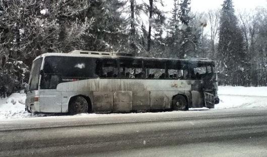 В Удмуртии загорелся автобус с 42 пассажирами в салоне