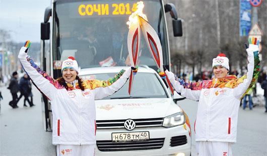 Как Ижевск встретил огонь Олимпийских игр-2014