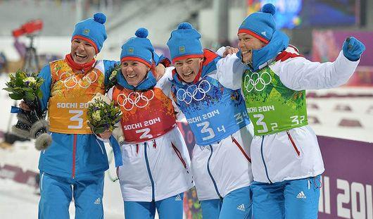 Биатлонистки из России стали вторыми на Олимпиаде в Сочи