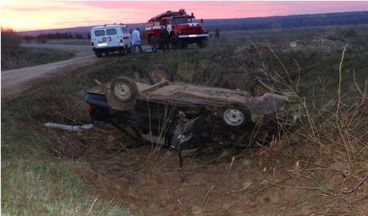 В Удмуртии девушка погибла в перевернувшейся машине