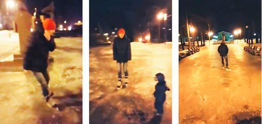 В сквере у Вечного огня в Ижевске ижевчане стали кататься на коньках