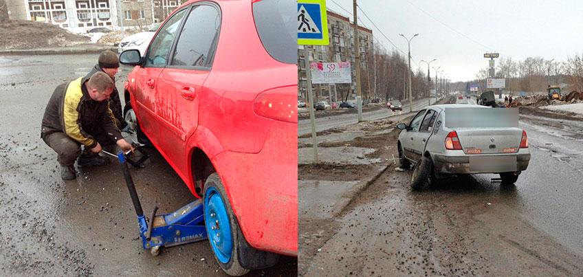 30 автовладельцев за день пробили колеса в «коварной» яме на улице Союзной в Ижевске