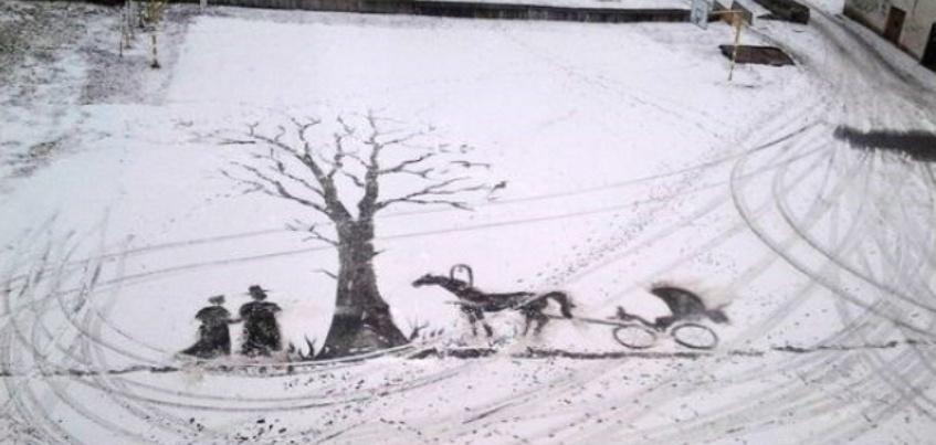 Дворник ижевского лицея, рисующий снегом, стал лауреатом премии «Сирано»