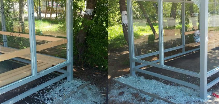 Стекла, которые разбили на новой остановке в Ижевске по улице 9-е января, восстановят к 9 июня