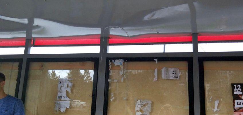 Фотофакт: одна из новых остановок в Ижевске не прошла «испытание на прочность» сильнейшим ливнем