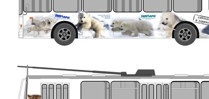 В Ижевске может появиться троллейбус с изображением белых медвежат и тигрят из Зоопарка