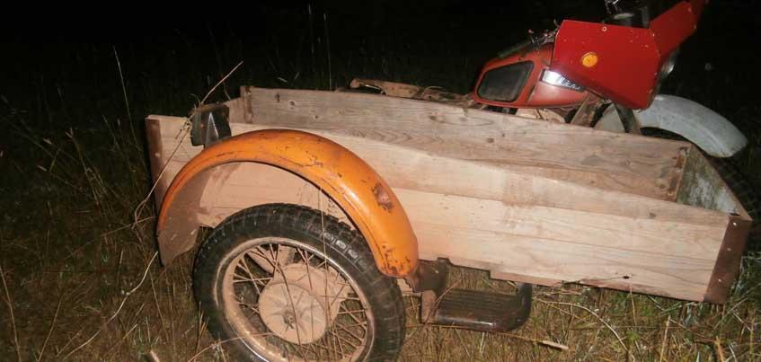 В Кизнерском районе Удмуртии перевернулся пьяный мотоциклист