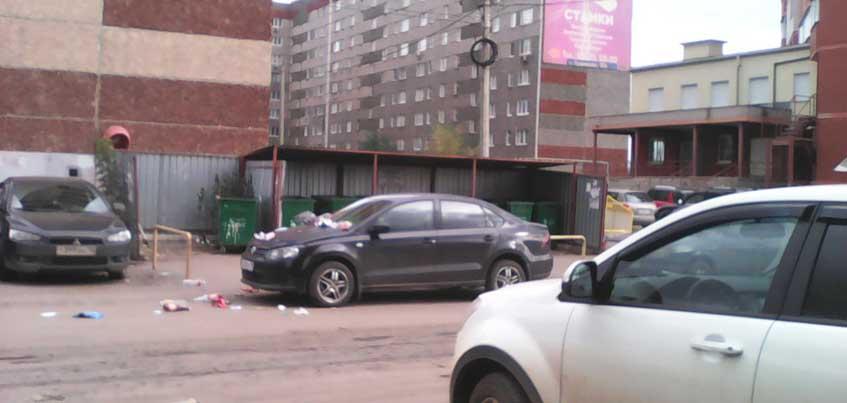 В Ижевске мусоровоз уронил мусор на капот и лобовое стекло автомобиля