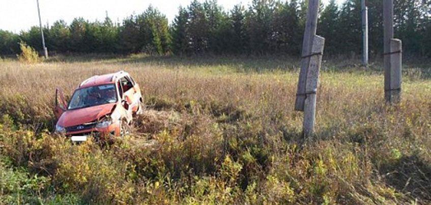 Нетрезвый водитель врезался в столб в Малопургинском районе Удмуртии