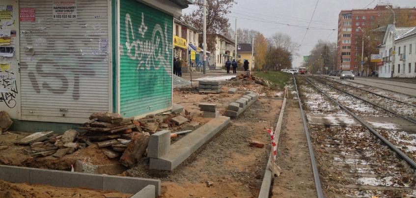 На ул. Авангардной в Ижевске начался ремонт трамвайной остановки