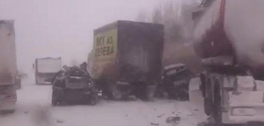 На трассе Ижевск – Сарапул  столкнулись 6 автомобилей