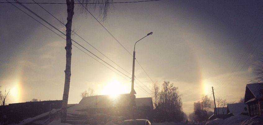 Жители Ижевска смогли увидеть зимнее явление «Гало»