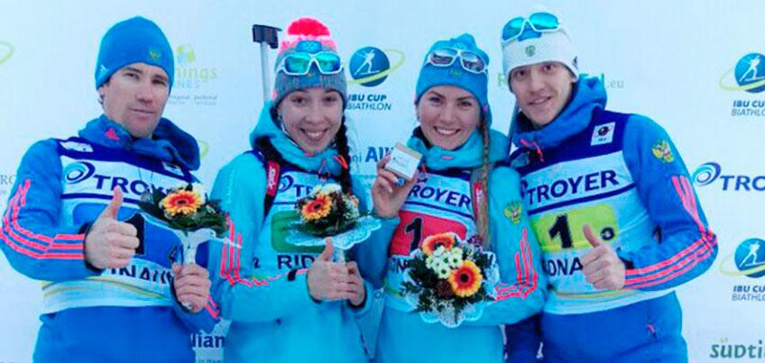 Российские биатлонисты стали победителями смешанной эстафеты на этапе Кубке Европы