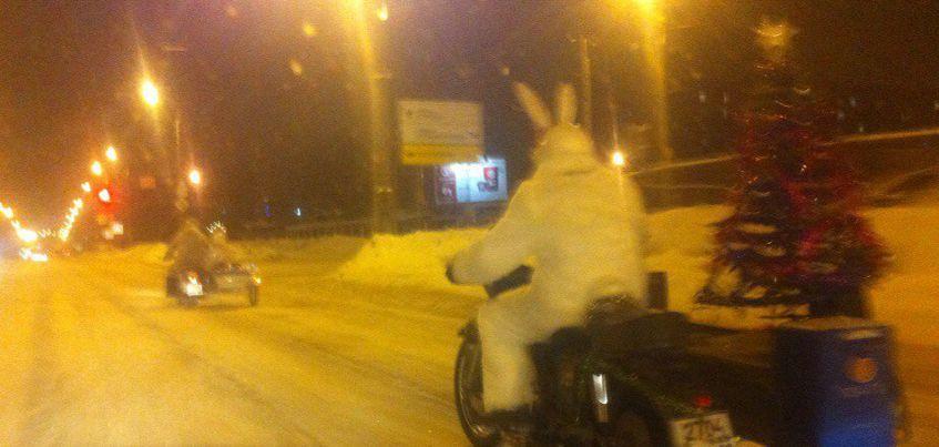 По Ижевску ездят мотоциклисты, переодевшиеся в костюмы зайцев