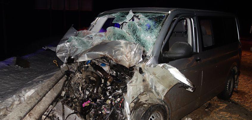 На трассе Удмуртии столкнулись грузовик и микроавтобус