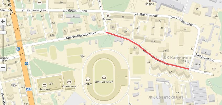 С 6 февраля участок улицы Красногеройской в Ижевске закроют для движения транспорта