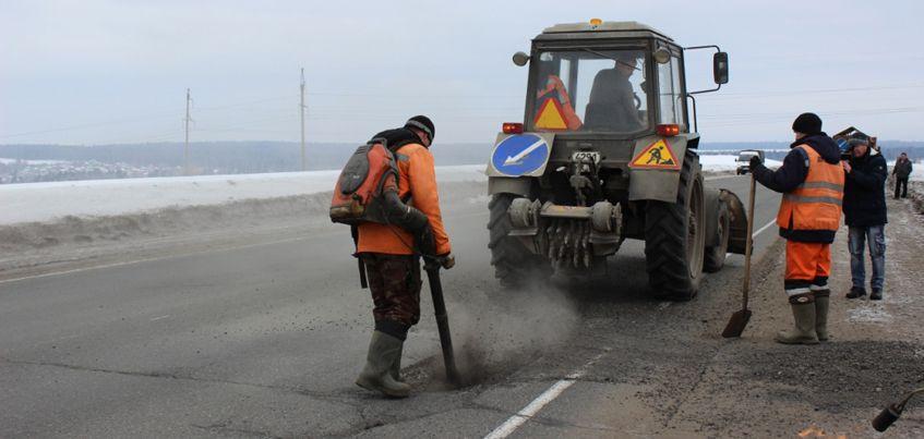 В Удмуртии начался ямочный ремонт с использованием литого асфальтобетона
