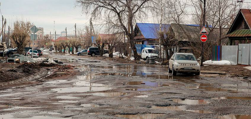 На улице Партизанской в Ижевске дорожное полотно поднимут и отремонтируют