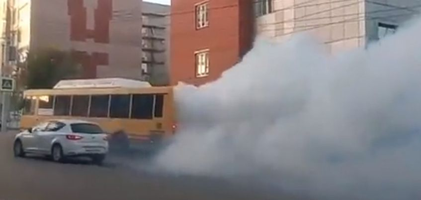 Видео: в Ижевске задымился автобус № 36