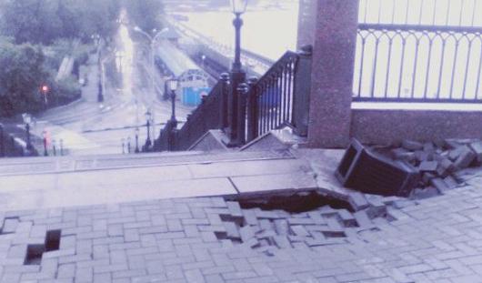 У памятника оружейникам в Ижевске обвалилась брусчатка