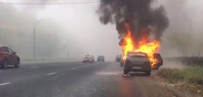 В Ижевске на Воткинском шоссе загорелась Nexia