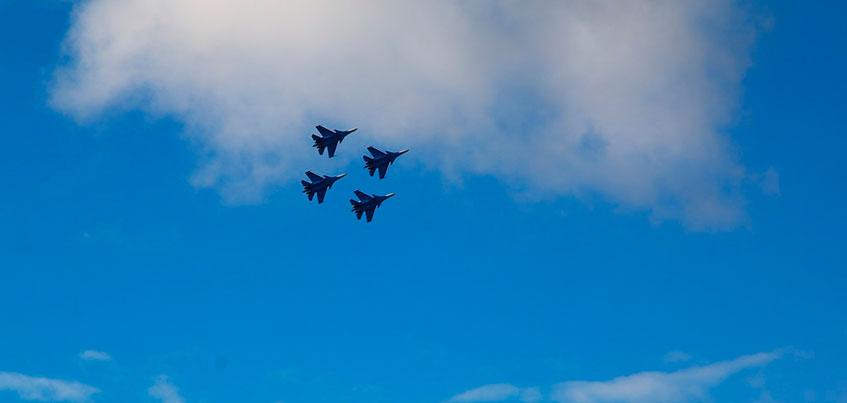 Во время тренировки «Русских витязей» в Ижевске появилась радуга