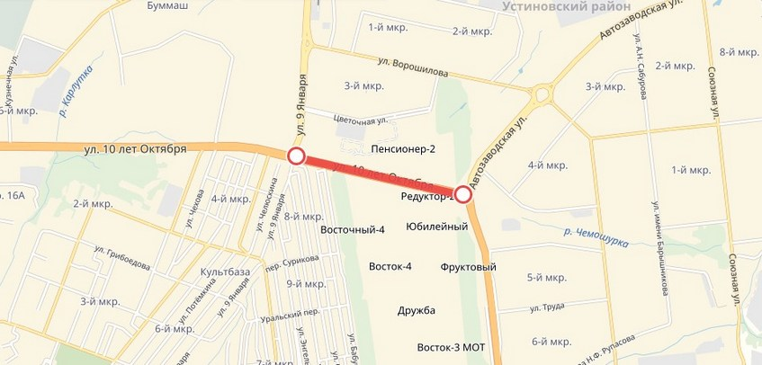 25 апреля в Ижевске закроют движение по улице 10 лет Октября