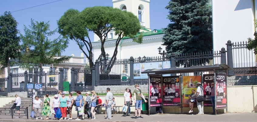 Фото: новую остановку установили около собора Невского в Ижевске