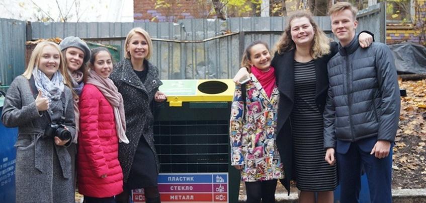 Контейнер для раздельного сбора мусора появился у одной из школ Ижевска