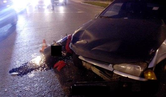В Ижевске на Воткинском шоссе столкнулись мотоцикл и «четырнадцатая»