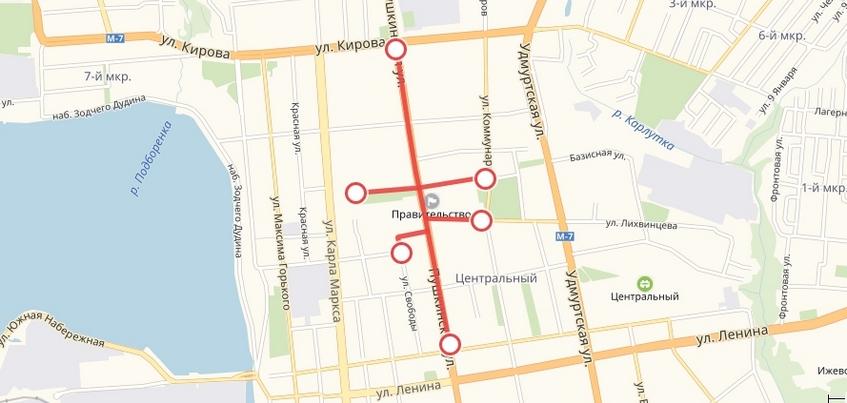 Движение транспорта ограничат в центре Ижевска в новогоднюю ночь