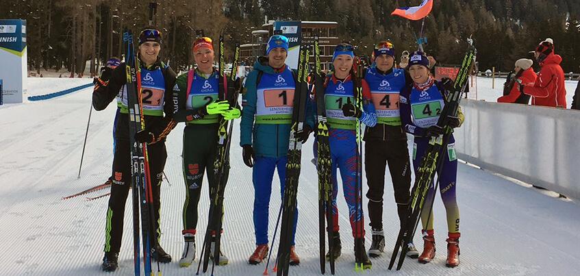Биатлонистка из Удмуртии выиграла смешанную эстафету на Кубке IBU в Швейцарии