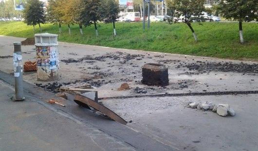 В Ижевске около ТЦ «Аврора» начали ремонт парковки