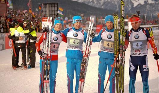 Российские биатлонисты стали первыми в эстафете на этапе Кубка мира в Хохфильцене