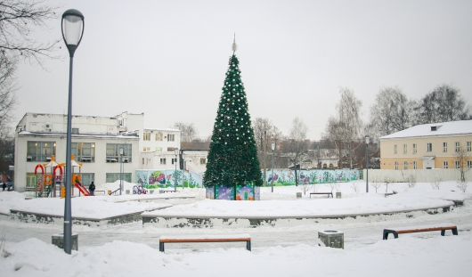 В Вишневом сквере в Ижевске установили елку
