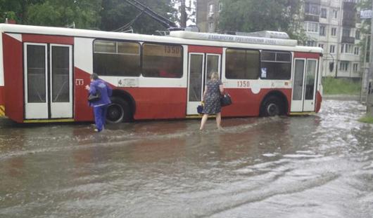 В Ижевске после дождя затопило несколько улиц