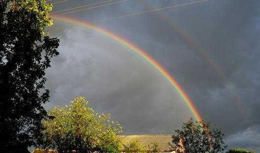 После ливня в Ижевске появилась двойная радуга