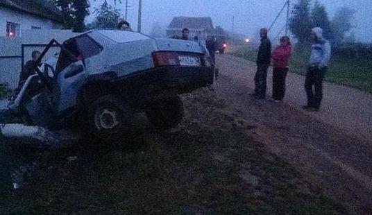 В Удмуртии пьяный водитель погиб после столкновения со столбом