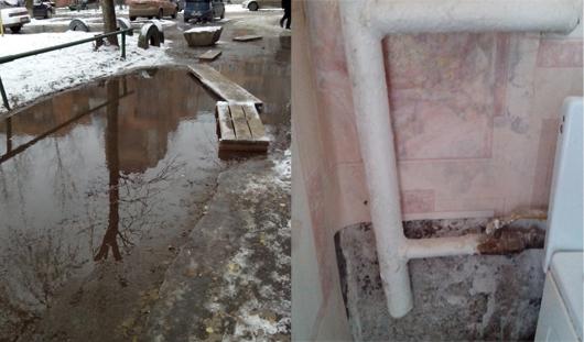 Во дворе дома № 199 на ул. 9 Января в Ижевске сильное повреждение на коммунальных сетях привело к потопу