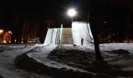 В Ижевске в «Козьем парке» открылась горка для тюбингов