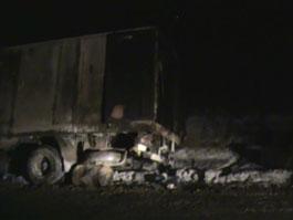 В Удмуртии после столкновения грузовиков сгорел водитель