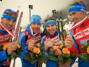 Российские биатлонисты стали вторыми в эстафете на этапе Кубка мира