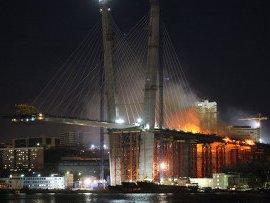 Во Владивостоке сгорел строящийся к саммиту АТЭС-2012 мост