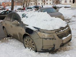В Ижевске снег с крыши упал на дорогую иномарку
